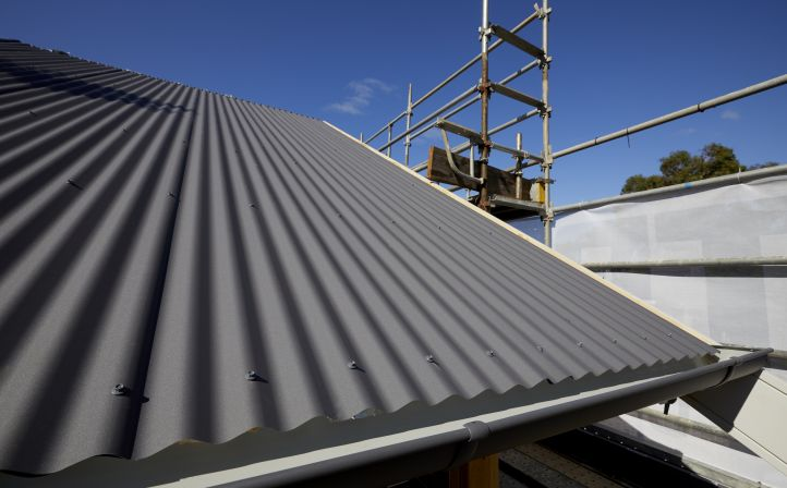 Work in progress – House #1's roof made from COLORBOND® steel Matt in the colour Basalt®.